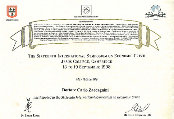 The Sixteenth International Symposium, on Economic Crime, Jesus College, Cambridge, 13 to 19 September 1998.